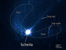 Asteroid Scheila showing dust plumes from a suspected impact