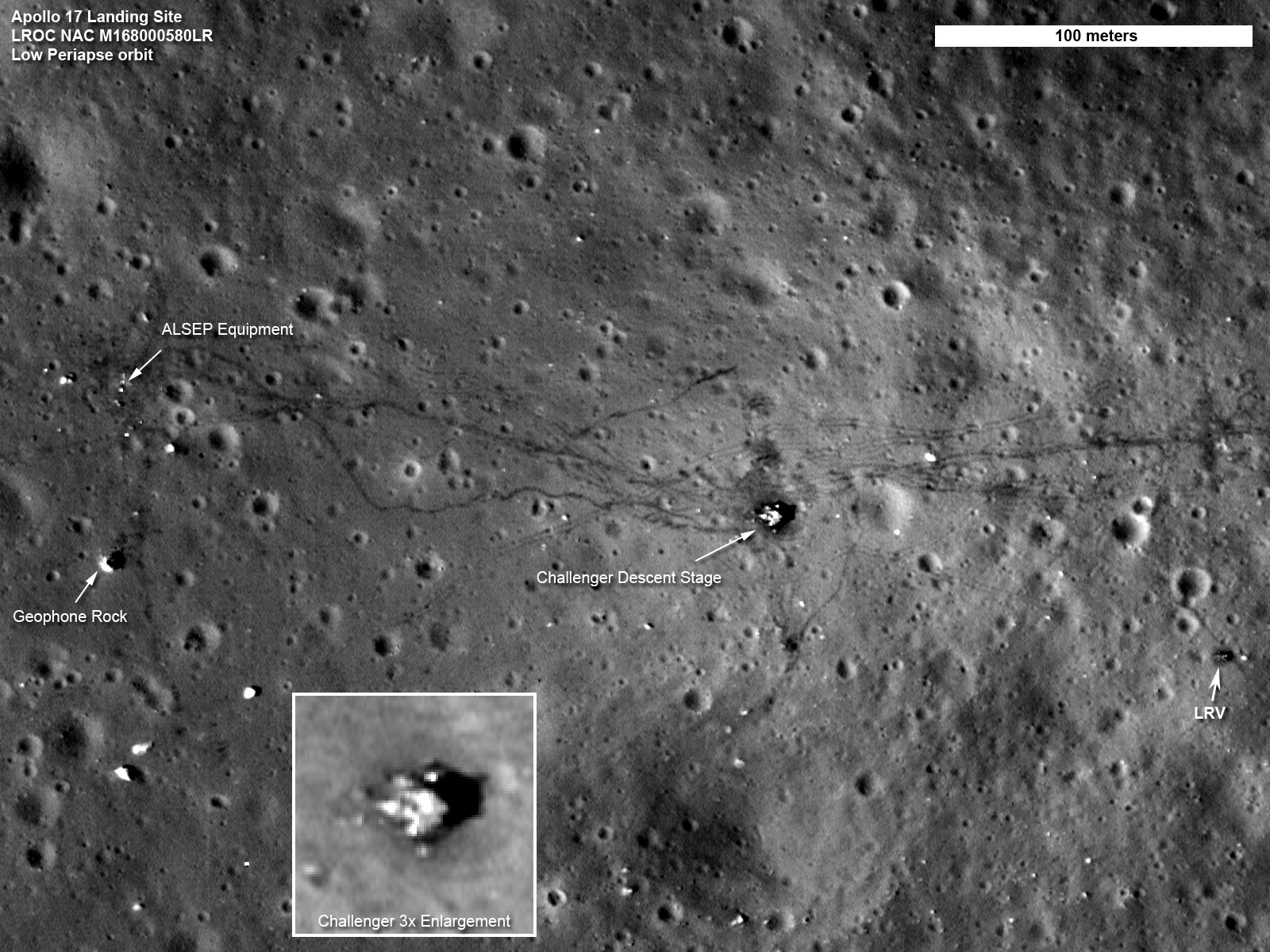 apollo 17 on the moon from LRO