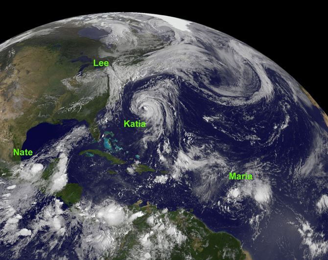 GOES image of four Atlantic Storms on Sept. 8, 2011