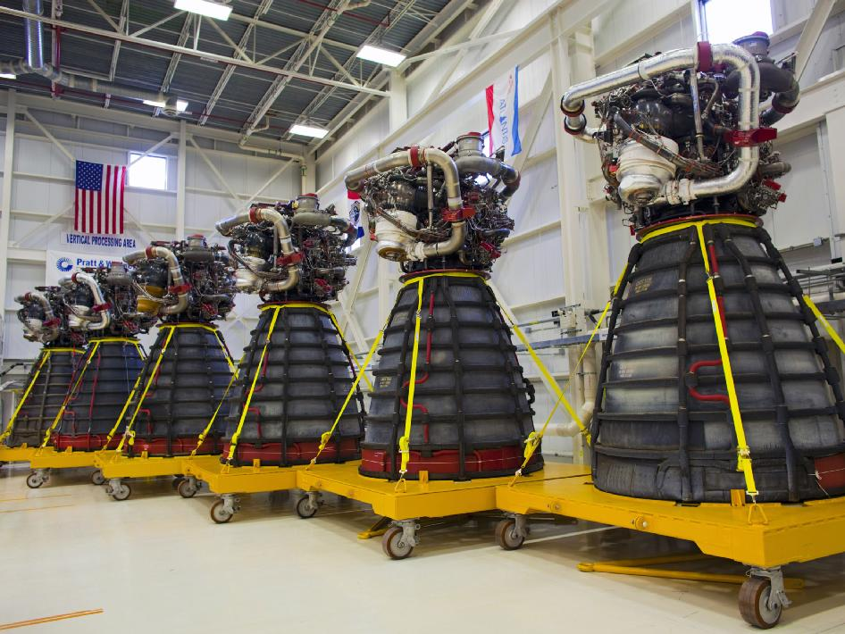 six shuttle main engines in the Engine Shop at NASA's Kennedy Space Center in Florida