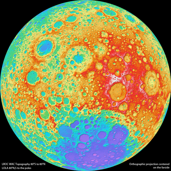 color shaded relief map of the lunar farside. (Credit: NASA's Goddard Space Flight Center/DLR/ASU)