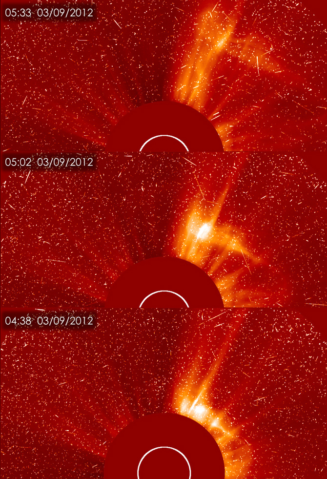 SOHO captured these three images showing the evolution of the CME.