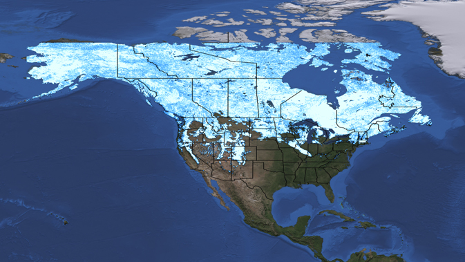 snow cover map derived from MODIS data