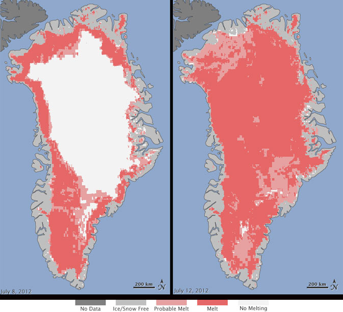 Extent of surface melt over Greenland's ice sheet on July 8, left, and July 12. right.