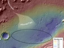 This image shows the topography, with shading added, around the area where NASA's Curiosity rover landed on Aug. 5 PDT (Aug. 6 EDT).