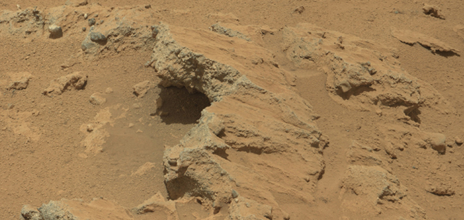 "NASA's Curiosity rover found evidence for an ancient, flowing stream on Mars at a few sites, including the rock outcrop pictured here, which the science team has named ""Hottah"" after Hottah Lake in Canada's Northwest Territories. (NASA/JPL-Caltech/MSSS)"
