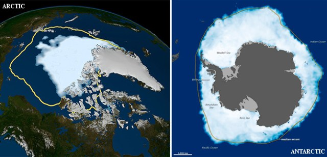Comparison of (left) Arctic sea ice minimum to (right) Antarctic sea ice maximum for 2012.