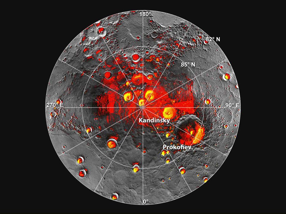 Cráteres de Mercurio en los que nunca da la luz del sol