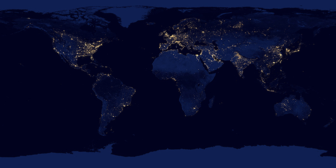composite world map showing Suomi NPP observations of nighttime illumination