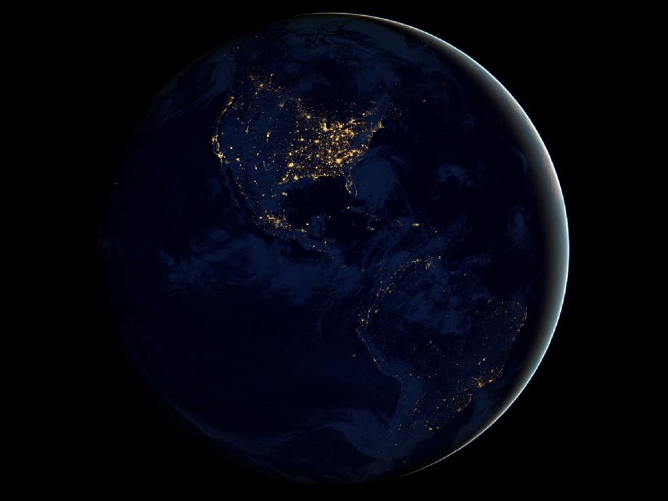 This new global view of Earth's city lights is a composite assembled from data acquired by the Suomi NPP satellite. The data was acquired over nine days in April 2012 and 13 days in October 2012. Image credit: NASA's Earth Observatory/NOAA/DOD