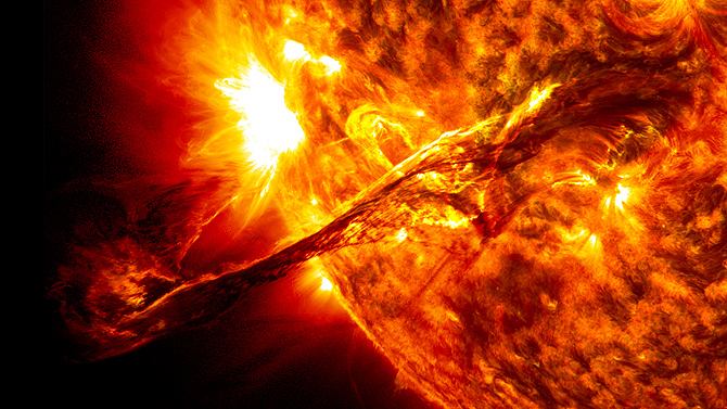 On Aug. 31, 2012, a giant prominence on the sun erupted, sending out particles and a shock wave that traveled near Earth.