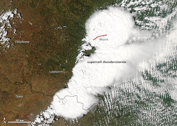 Aqua satellite view of storm system over Oklahoma