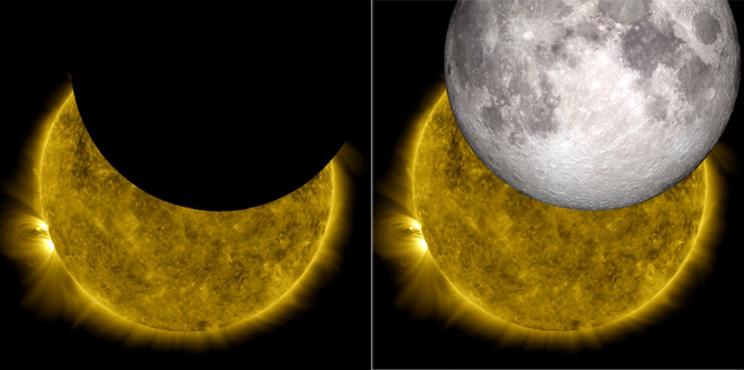 The Moon and Sun: Two NASA Missions Join Images
