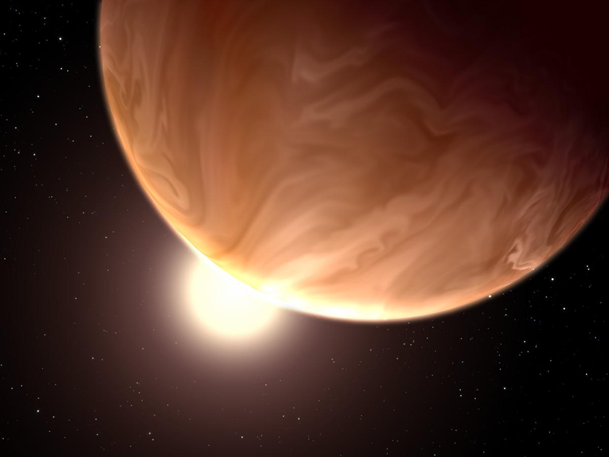 Dos planetas con nubes en la vía láctea