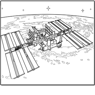 Black and white drawing of International Space Station over Earth