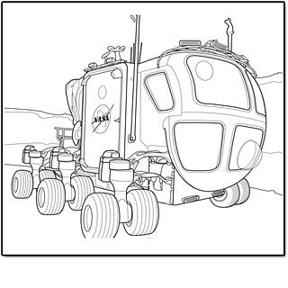 Black and white drawing of the vehicle to use on other planets or moons