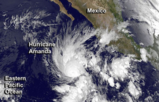 On Monday, May 26 an image from NOAA's GOES-West satellite at 5:00 a.m. PDT showed that Hurricane Amanda's eye had become cloud-filled.