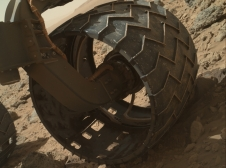 Left-front wheel of NASA's Curiosity Mars rover