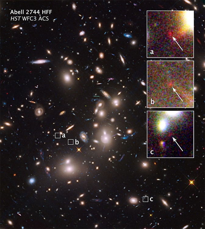The mammoth galaxy cluster Abell 2744 is so massive that its powerful gravity bends the light from galaxies far behind it, making these otherwise unseen background objects appear larger and brighter than they would normally.