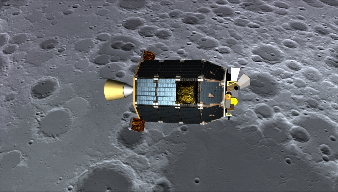 Concept art showing LADEE over the lunar surface