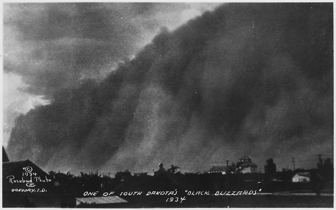 "A ""black blizzard"" dust storm in South Dakota, 1934."