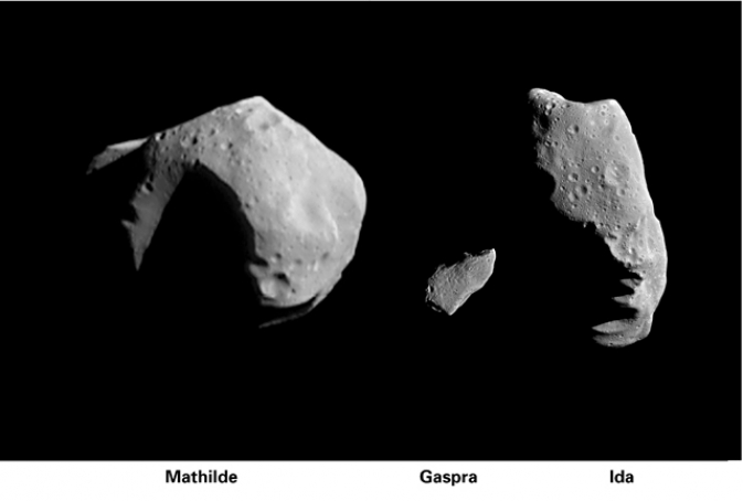 Photos of three asteroids