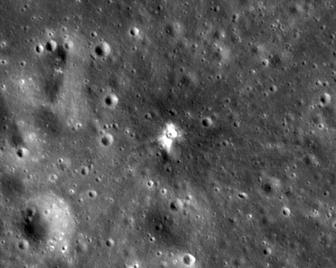 LROC close-up image of the moon from July 28, 2013, showing an impact crater created on March 17 of that year