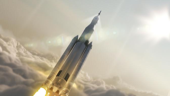 Conceptul Artist de Space Launch System NASA (SLS) configurație de 70-metric de tone de lansare în spațiu.
