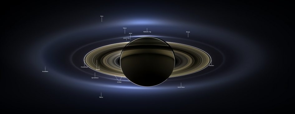 NASA's caption:  On July 19, 2013, in an event celebrated the world over, NASA's Cassini spacecraft slipped into Saturn's shadow and turned to image the planet, seven of its moons, its inner rings -- and, in the background, our home planet, Earth. Image Credit:  NASA/JPL-Caltech/SSI