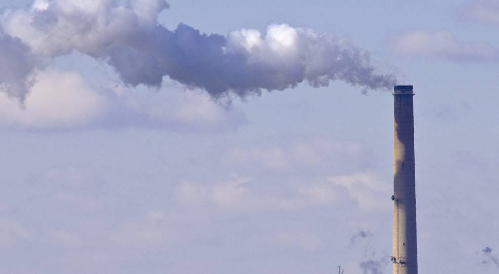 Human-made sulfur dioxide emissions from a medium-size power plant