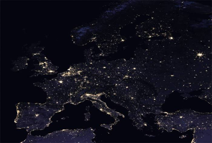 composite image of Europe at night, 2016