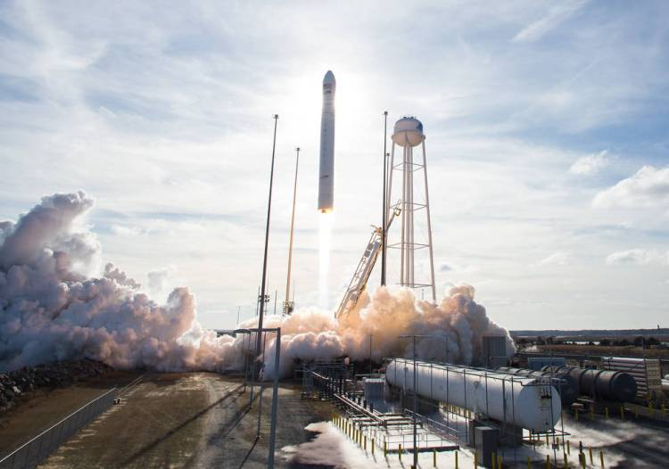 The Northrop Grumman Antares rocket, with Cygnus resupply spacecraft onboard, is seen launching from Pad-0A at NASA's Wallops