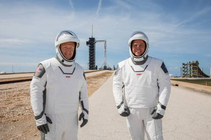 NASA astronauts Douglas Hurley (left) and Robert Behnken (right) participate in a dress rehearsal for launch