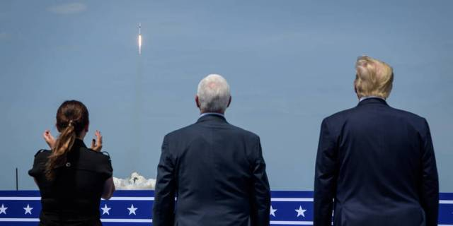 President Donald Trump, right, Vice President Mike Pence, and Second Lady Karen Pence watch the launch of a SpaceX Falcon 9 .