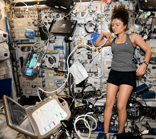 astronaut jessica meir using ultrasound equipment
