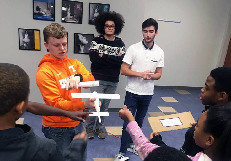 Research students from the University of Tennessee, who are working to design an ultra-efficient wing.