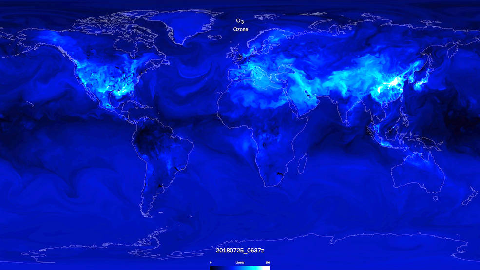 World map showing tropospheric ozone data, with high values over land sources.