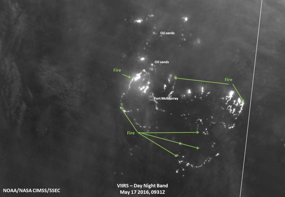 Suomi NPP Image of fires threatening oilsands work sites.
