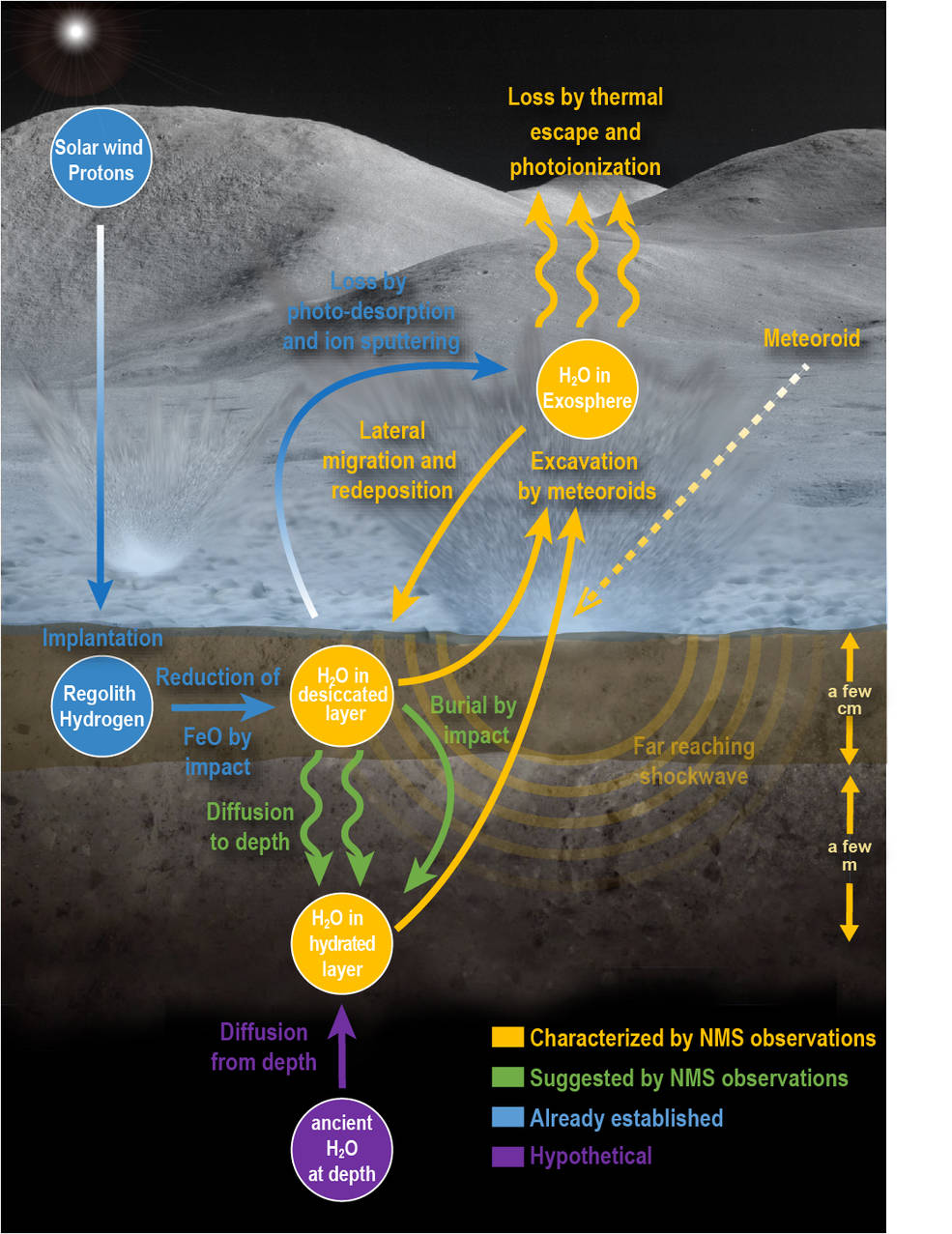 Infographic of the lunar water cycle