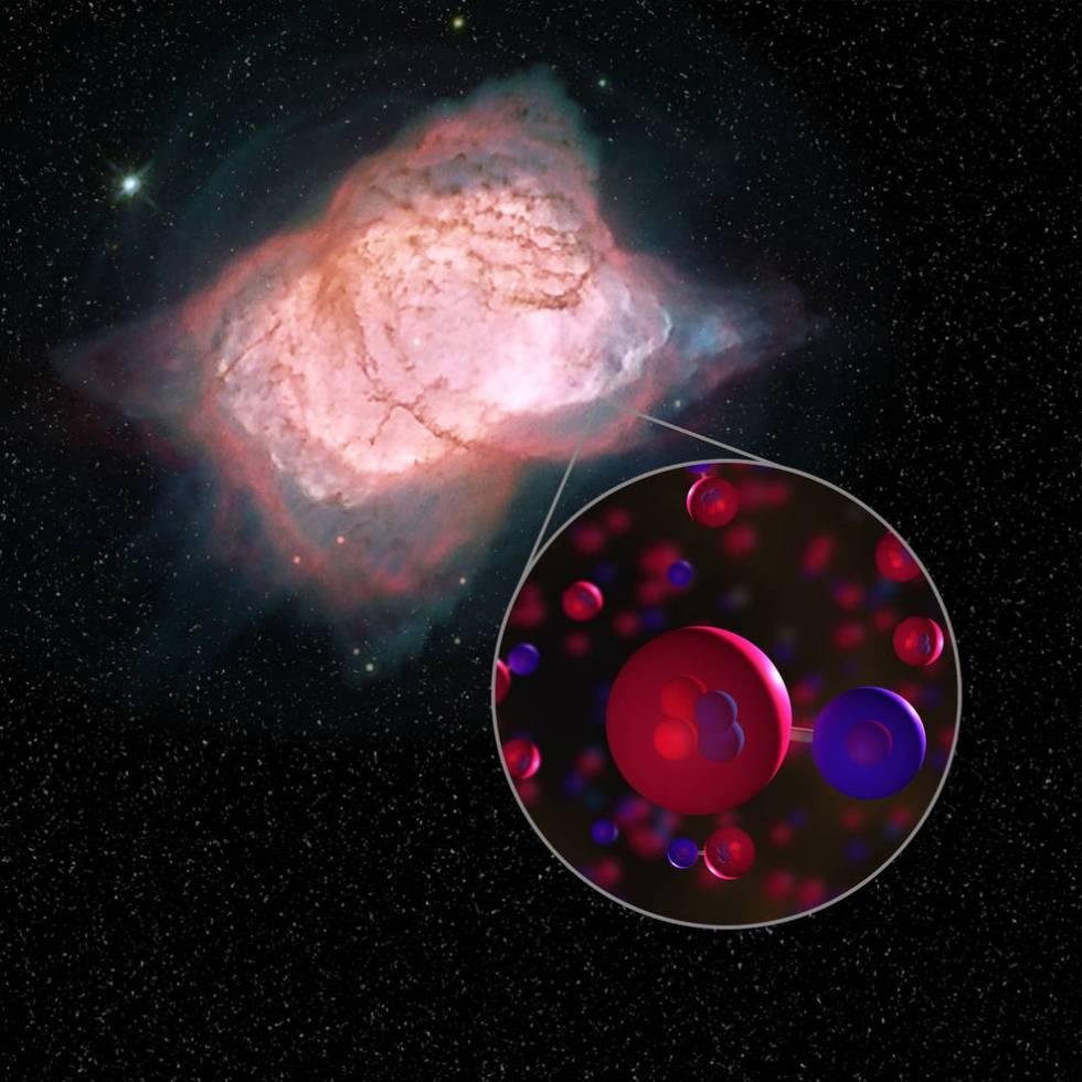 Image of planetary nebula NGC 7027 and illustration of helium hydride molecules.