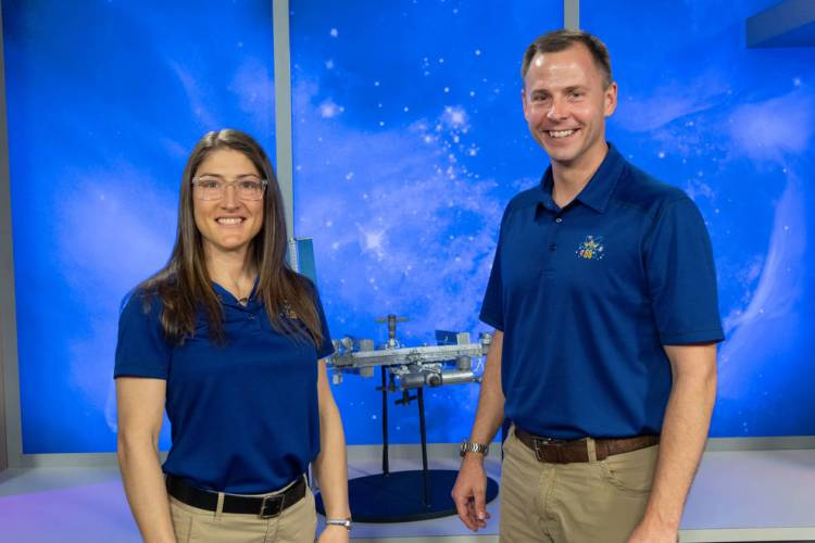 NASA astronauts (from left) Christina Koch and Nick Hague