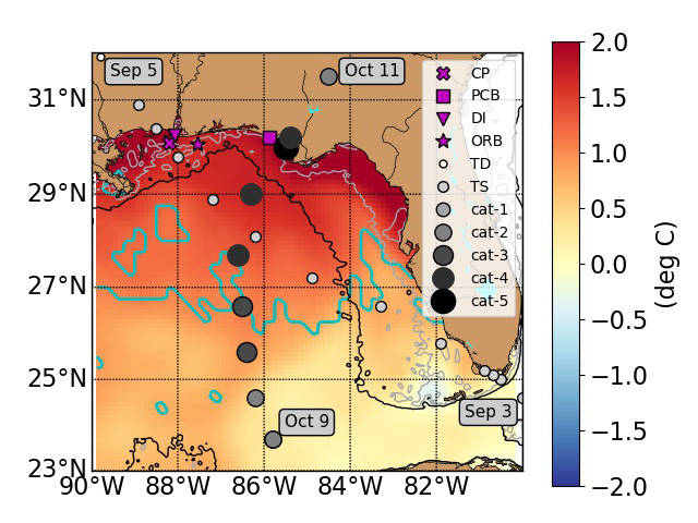 This map of the Gulf of Mexico shows areas with unusually high sea surface temperatures