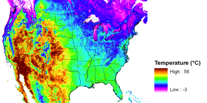 map of US with temperature data