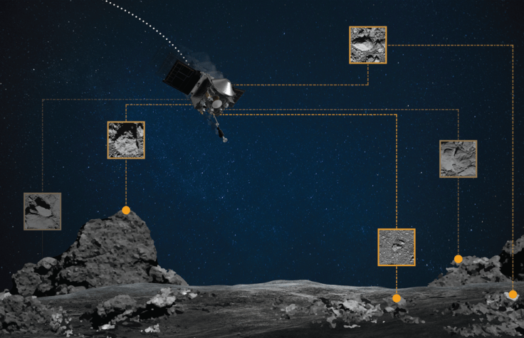 graphic showing satellite, asteroid and pictures of boulders on asteroid
