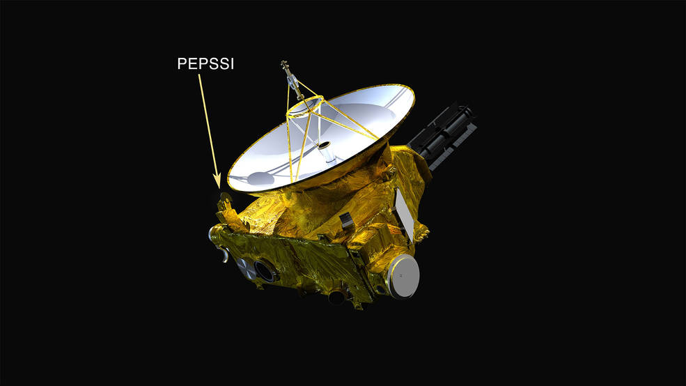 The location of New Horizons' Pluto Energetic Particle Spectrometer Science Investigation (PEPSSI) instrument is shown.