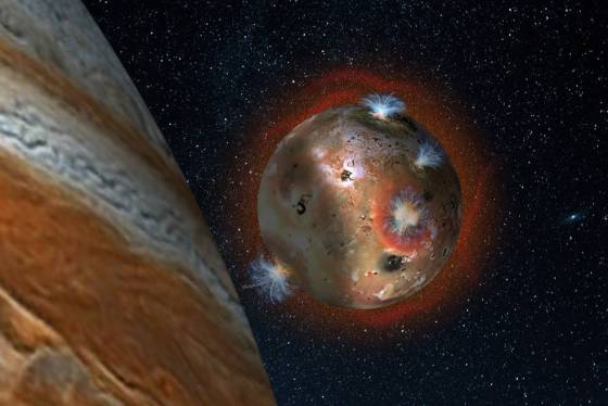Artist's concept of the atmospheric collapse of Jupiter's volcanic moon Io