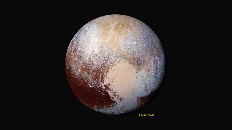 Four images from New Horizons' Long Range Reconnaissance Imager were combined with color data to create this enhanced photo.