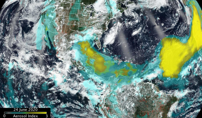 "This ""true-color"" composite image of the Saharan Dust plume was captured by the VIIRS instrument aboard NASA/NOAA's Suomi."