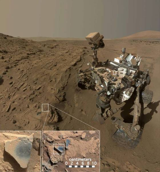 Curiosity rover with inset images