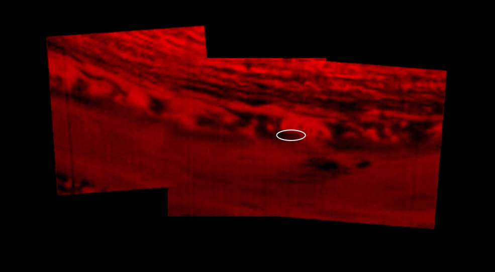 These images shows where on Saturn NASA's Cassini spacecraft entered the planet's atmosphere.